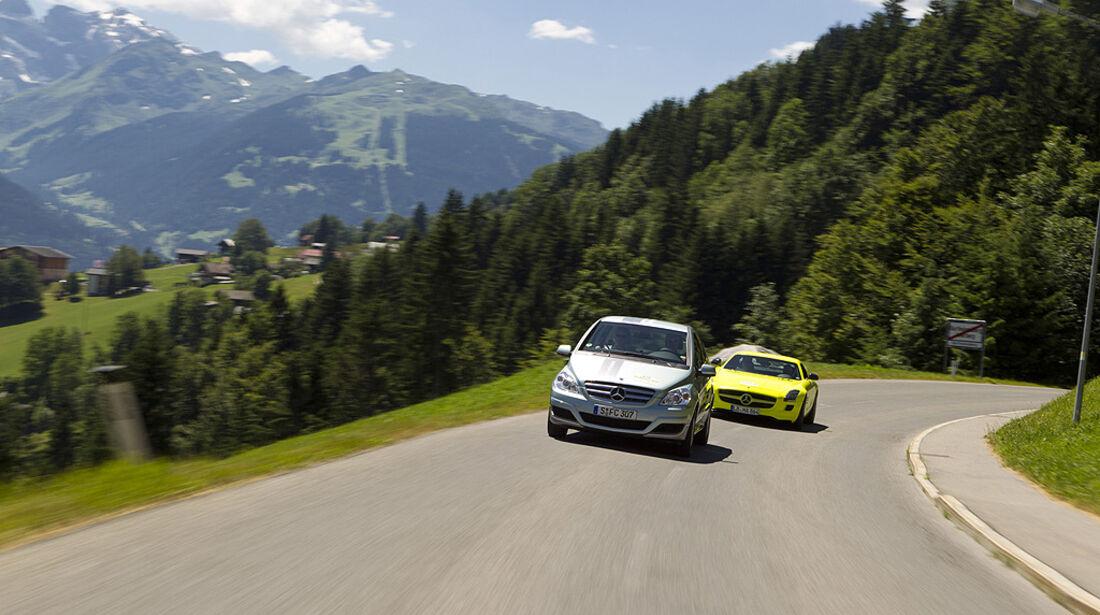 Silvretta E-Auto 2010, Elektroauto, E-Auto, Mercedes B-Klase F-Cell, Mercedes SLS AMG E-Cell