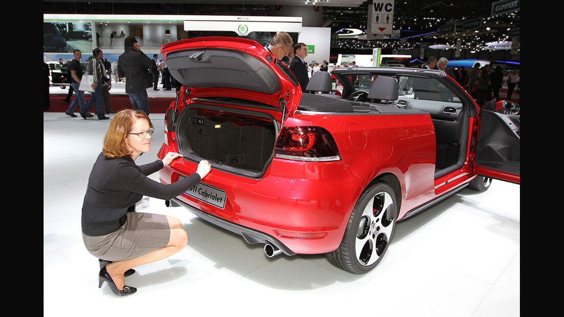 Sitzprobe Birgit Priemer VW Golf GTI Cabrio Genf 2012