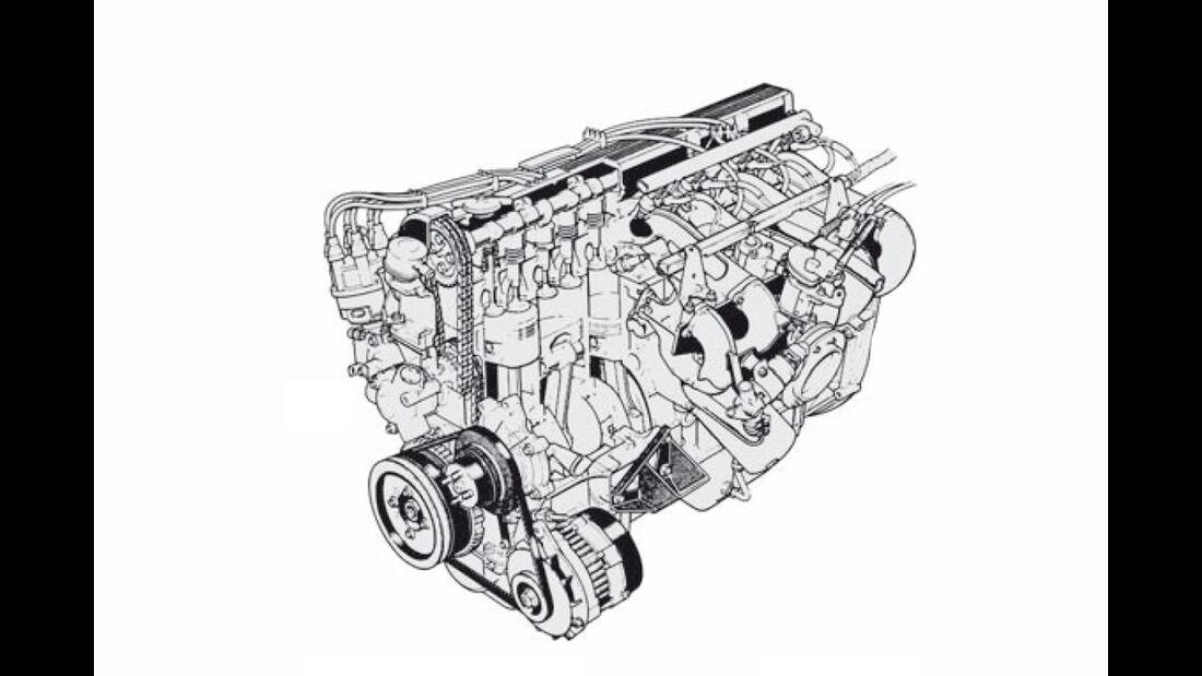 Skizze Motor Jaguar XJS