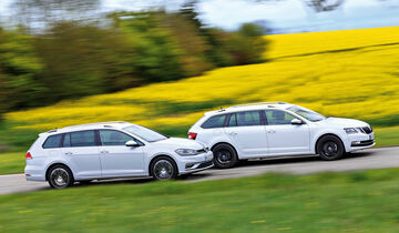 Skoda Octavia Combi 2.0 TDI 4x4, VW Golf Variant 2.0 TDI 4Motion, Seitenansicht
