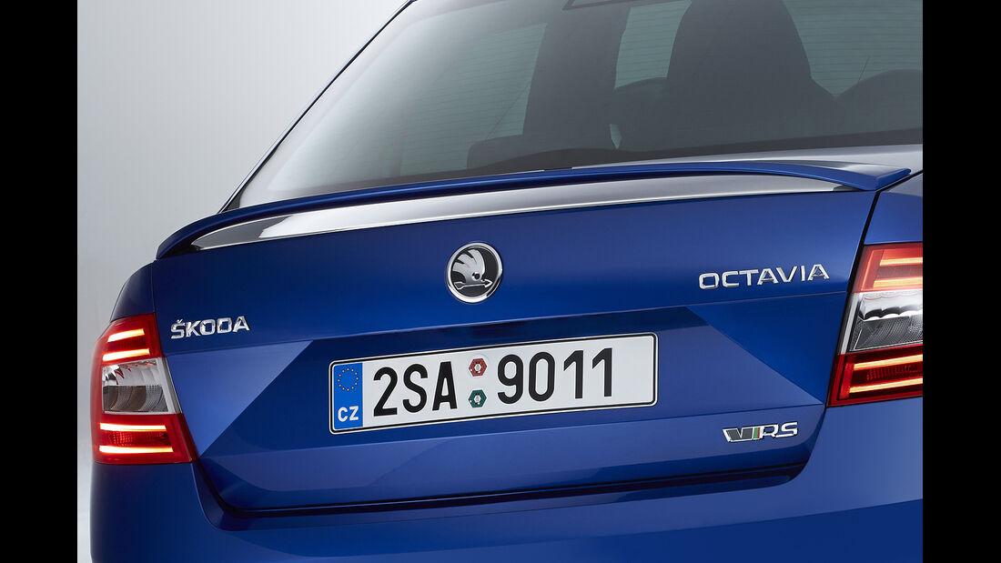 Skoda Octavia RS, Weltpremiere 2013, Heckflügel, Limousine