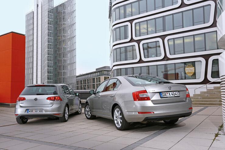 Skoda Octavia, VW Golf, Heckansicht