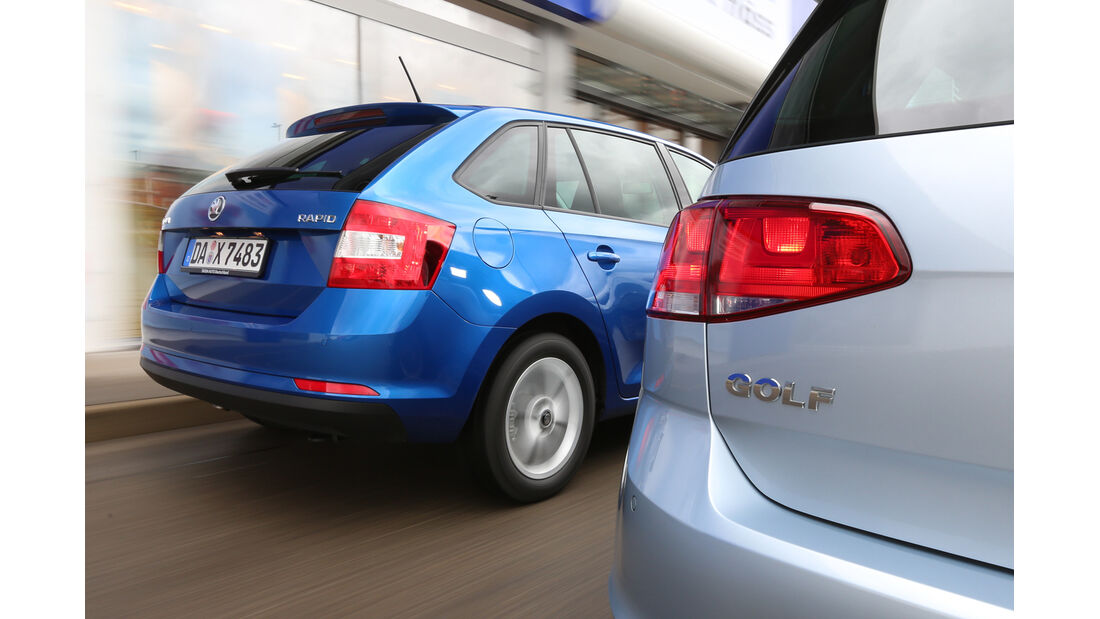 Skoda Rapid Spaceback 1.6 TDI Greentec, VW Golf 1.6 TDI BlueMotion, Heck