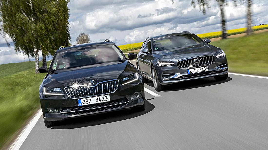 Skoda Superb Combi 2.0 TDI 4x4, Volvo V90 D3 AWD, Exteriuer, Teaser