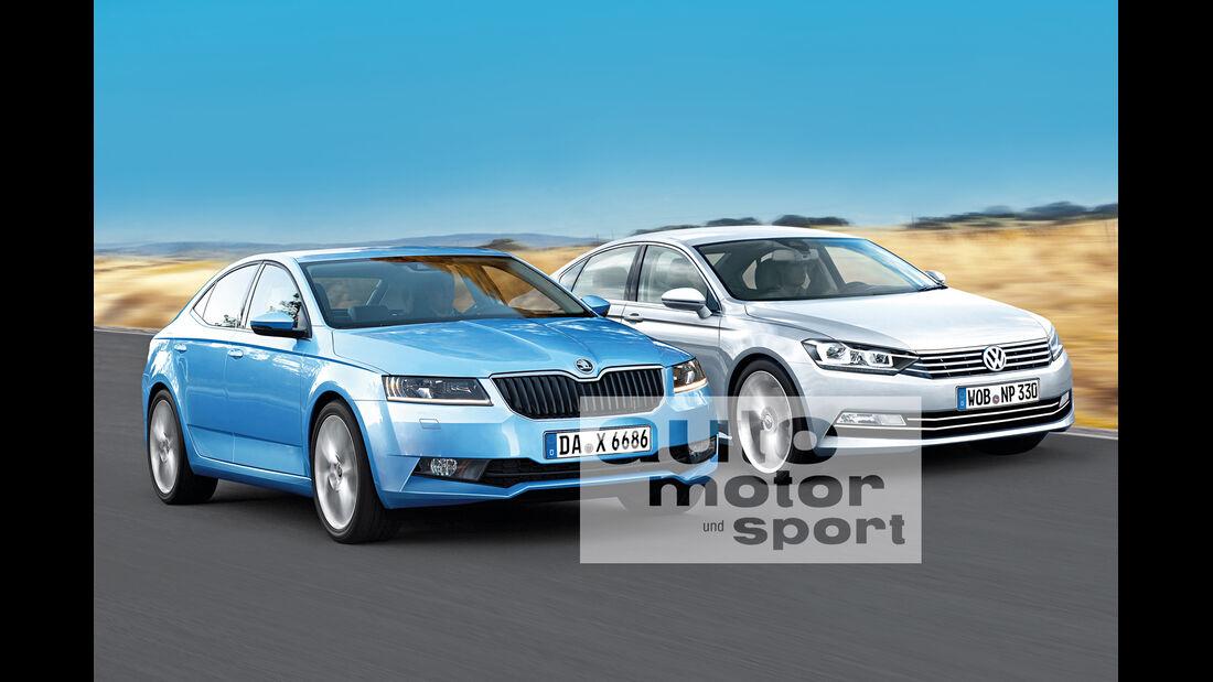 Skoda Superb, VW Passat, Frontansicht