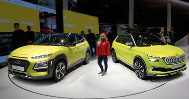 Skoda Vision X und Hyundai Kona im Vergleich