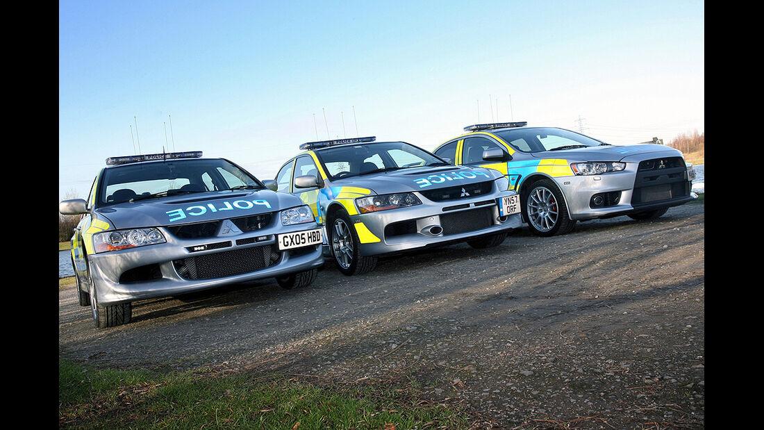 Skurrile Polizeiautos, Streifenwagen, Mitsubishi Lancer Evo