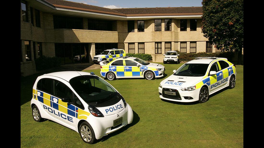 Skurrile Polizeiautos, Streifenwagen, Mitsubishi Lancer Evo X, Mitsubishi i-MiEv, Mitsubishi Lancer Sportback