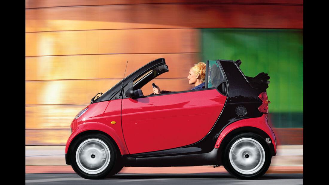 Smart Fortwo Cabrio, rot, Seitenansicht