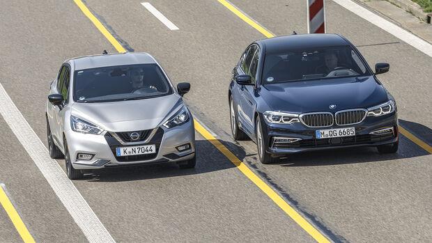 Spurhalteassistent: BMW 5er gegen Nissan Micra