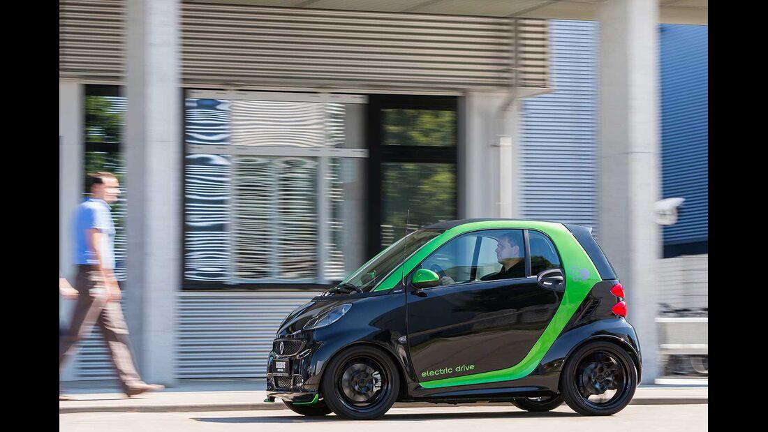 Startnummer 218: Team Daimler im Smart Brabus electric drive, 35 kw, 145 km Reichweite.
