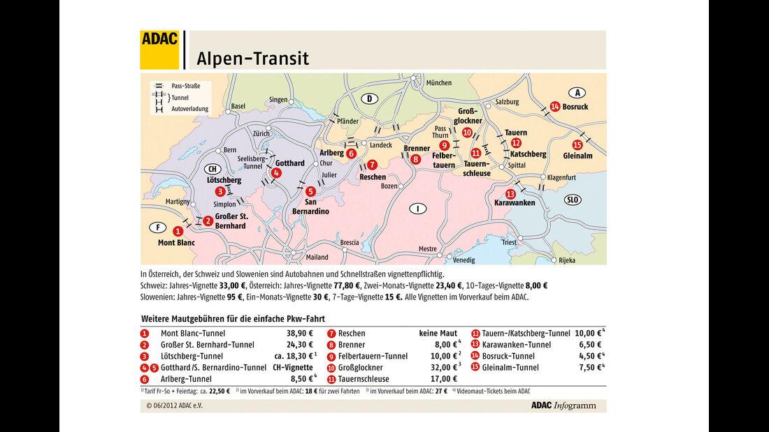 Stauvorhersage Winter, Karte, Alpenüberquerung