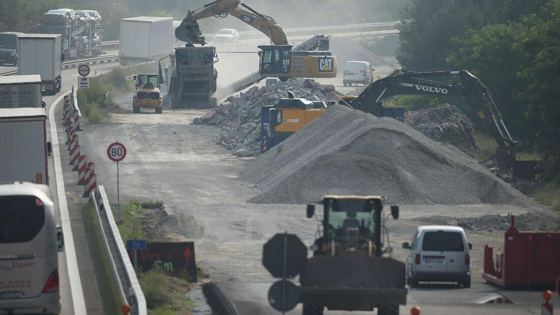 Straßenbau, Baustelle, Autobahn