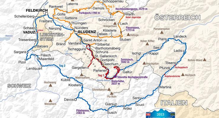 Streckenkarte Silvretta Classic 2013