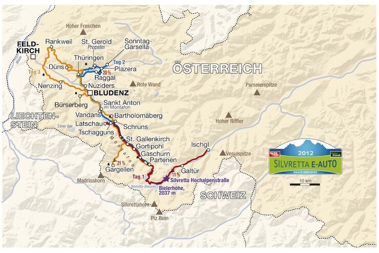 Streckenkarte Silvretta E-Auto 2012