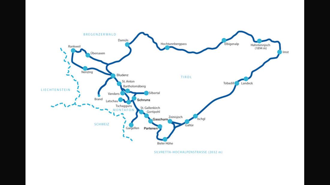Streckenplan - Silvretta Classic Rallye Monatfon 2011
