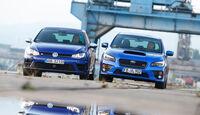 Subaru WRX STI, VW Golf, Frontansicht