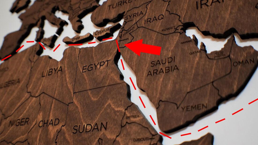 Suezkanal Weltkarte Handelsroute