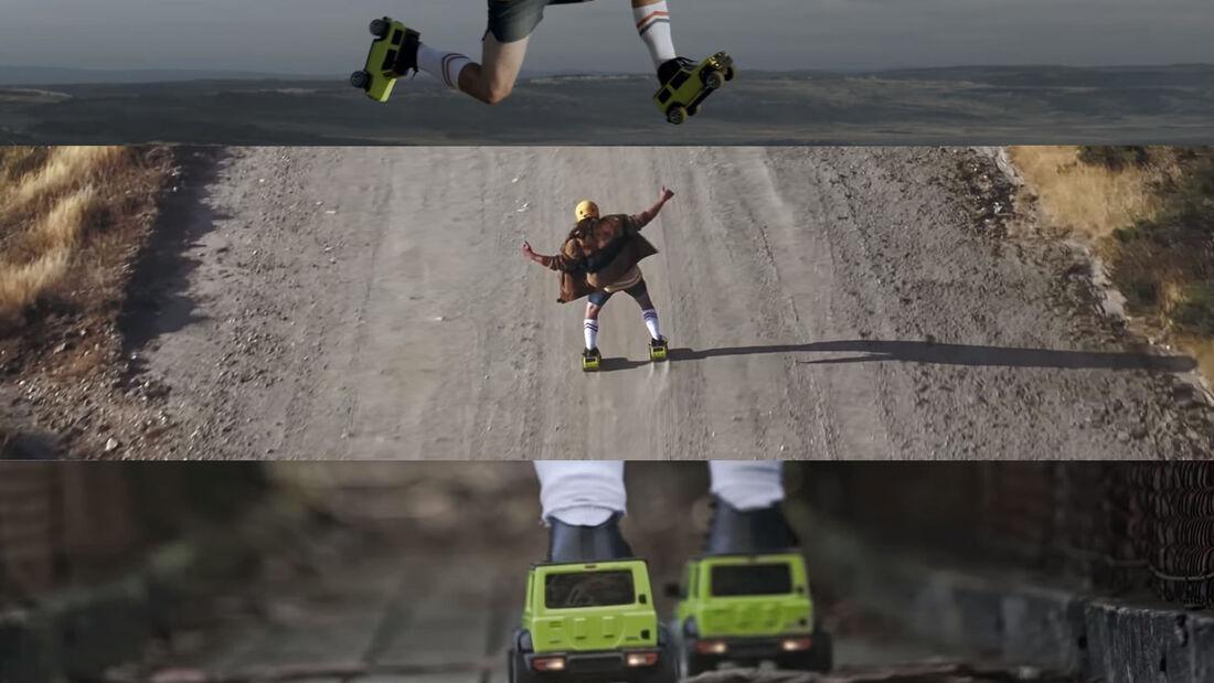 Suzuki Jimny Australien Werbung Rollschuhe