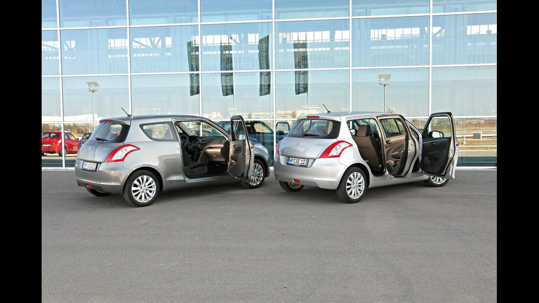 Suzuki Swift, Seitenansicht, Zweitürer, Viertürer