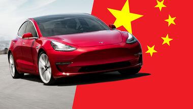 Tesla China Rückruf Flagge Collage