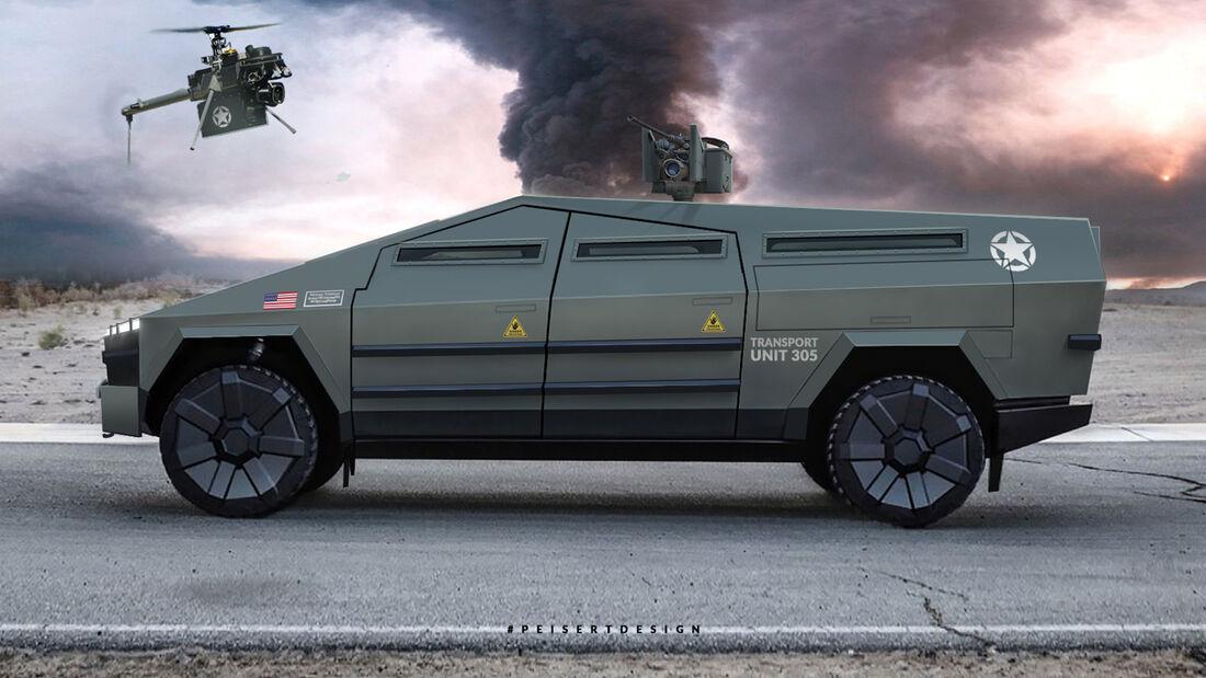 Tesla Cybertruck Militär Panzer Transporter Render Design