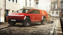 Tesla Cybertruck Rendering Design Sondereinsatz Polizei Pizza