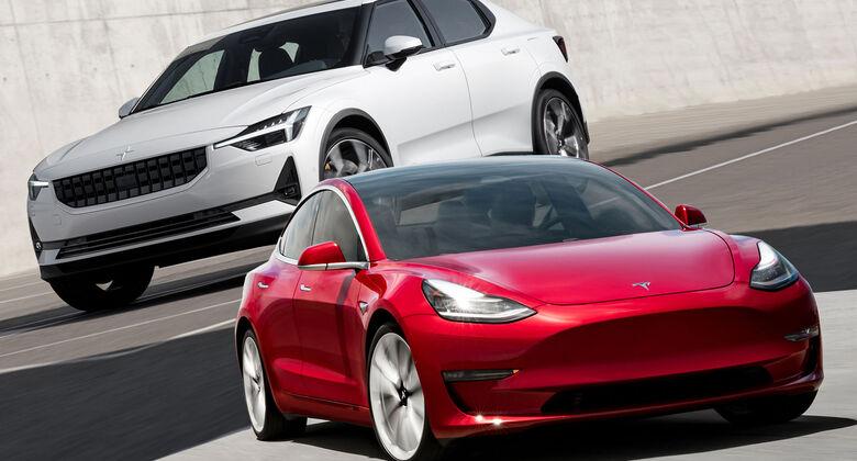 Tesla Model 3 Polestar 2 Vergleich Collage