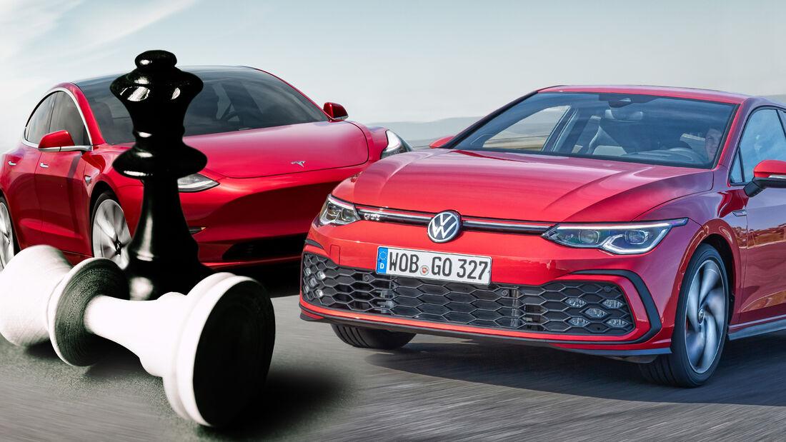 Tesla Model 3 VW Golf Neuzulassungen 2021 Sieger