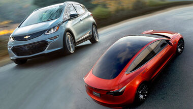 Tesla Model 3 und Chevy Bolt Collage