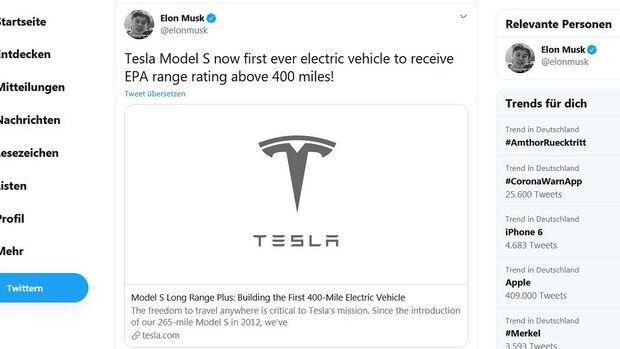 Tesla Model S Longe Range plus EPA-Reichweite 400 Meilen