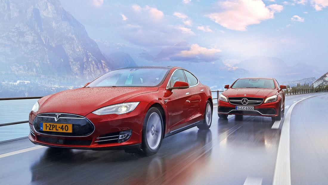 Tesla Model S P85D, Mercedes CLS 63 AMG S 4Matic, Frontansicht