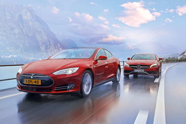 Tesla Model S P85D, Mercedes CLS 63 AMG S 4Matic, Frontansicht