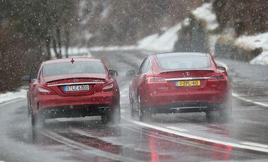 Tesla Model S P85D, Mercedes CLS 63 AMG S 4Matic, Heckansicht