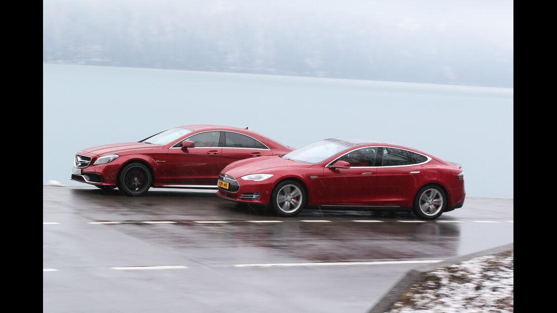 Tesla Model S P85D, Mercedes CLS 63 AMG S 4Matic, Seitenansicht
