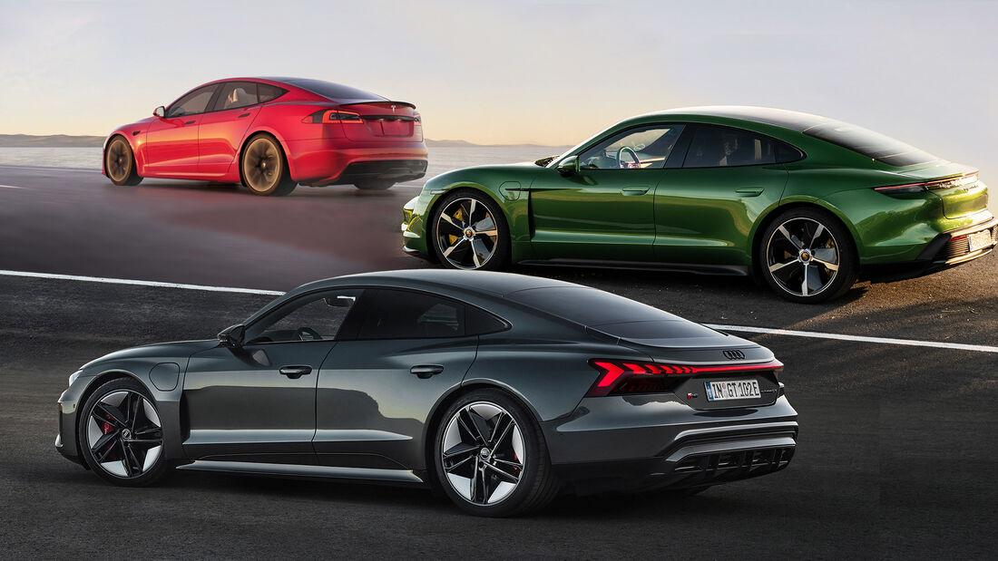 Tesla Model S Plaid Vergleich Porsche Taycan Turbo S Audi RS E-tron GT