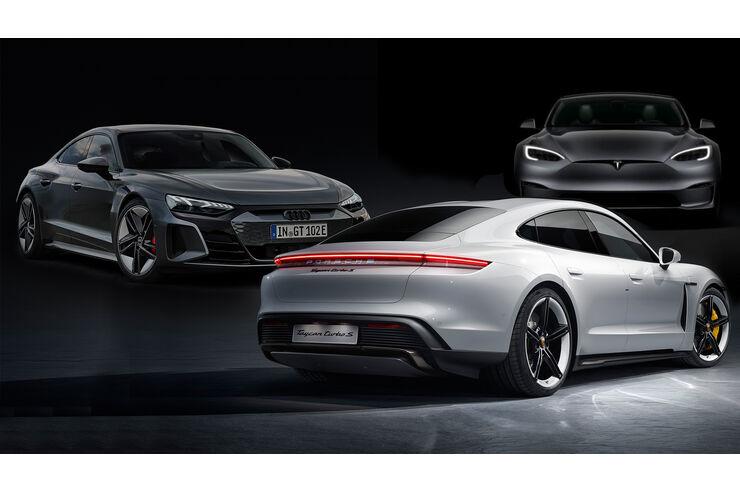 Model S gegen E-Tron GT und Taycan: Macht Tesla mit Plaid Audi und Porsche platt? - auto motor und sport