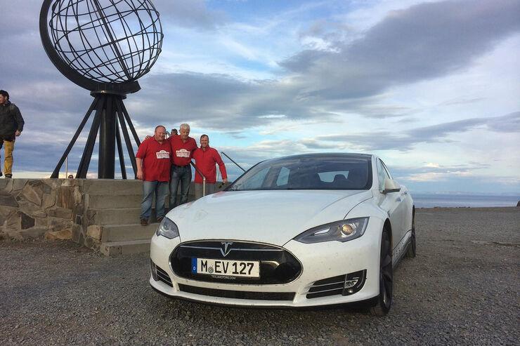 Tesla, Model S, Rekordfahrt, Rekord, Nordkap
