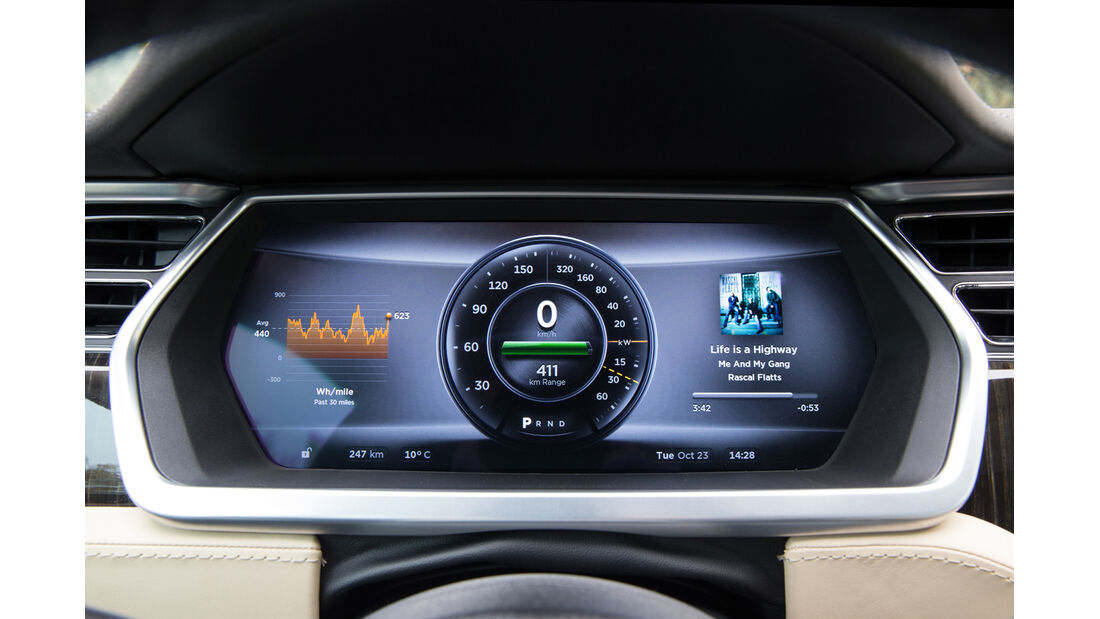 Tesla Model S, Rundinstrument, Anzeige