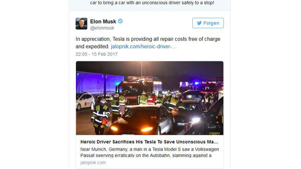 Tesla Model S Unfall A9