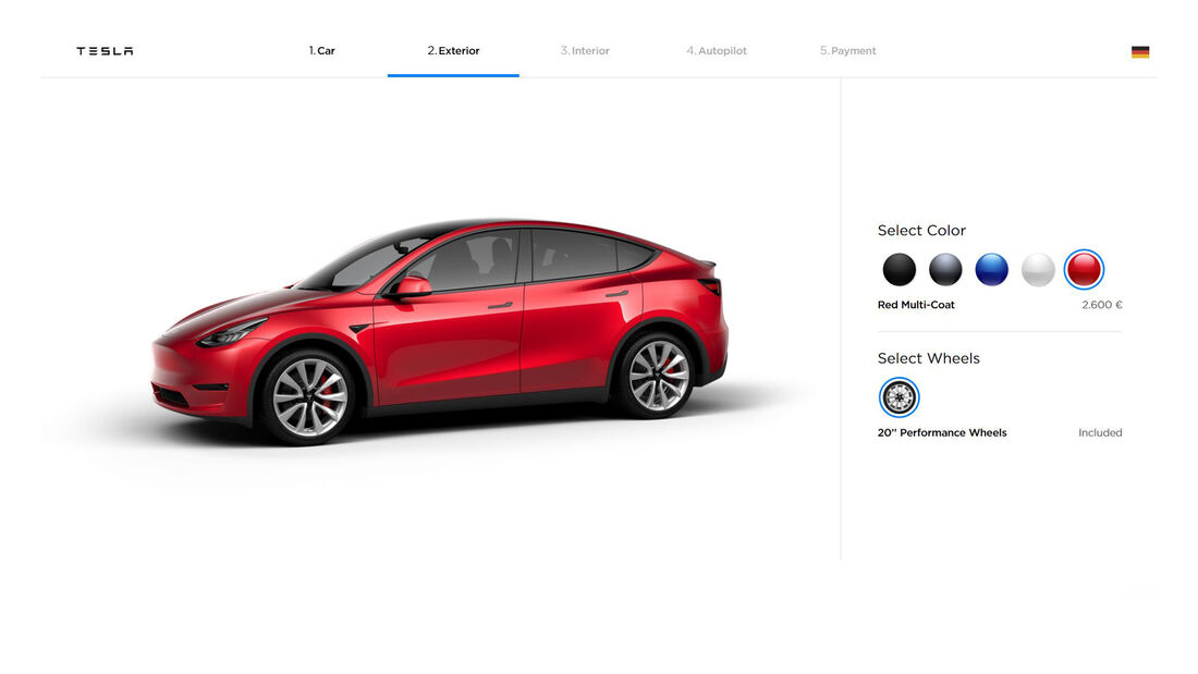 Tesla Model Y Konfigurator 2019