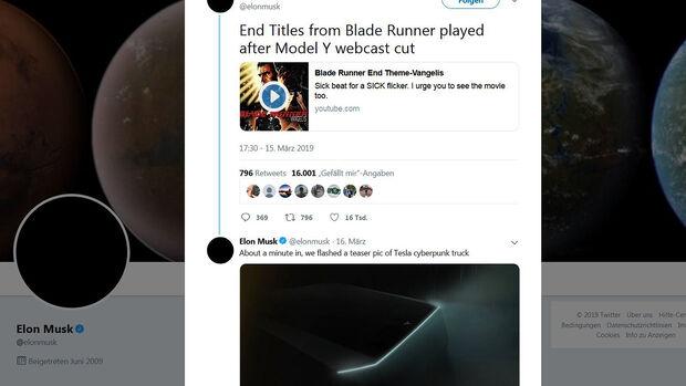 Tesla Pickup Elon Musk Twitter Blade Runner