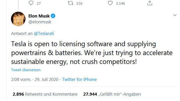 Tesla, Tweet Elon Musk, Lizenzvergabe