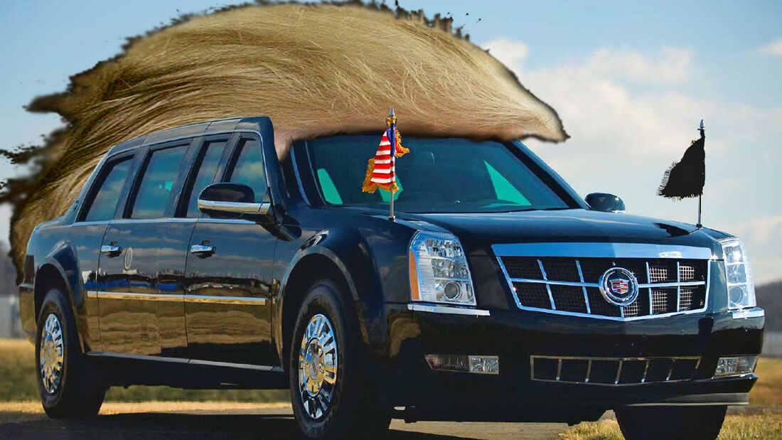 The Beast Cadillac Präsidentenlimousine mit Trump Perücke