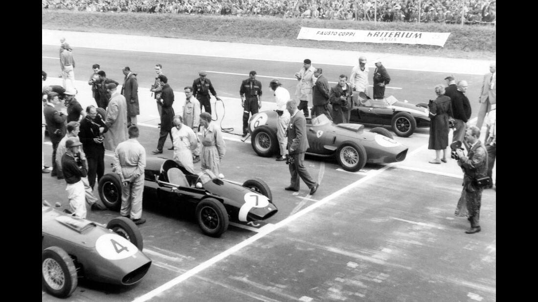 Tony Brooks - Ferrari Dino 246 - Stirling Moss - Cooper T5 - Dan Gurney - Ferrari Dino 246 - Jack Brabham - Cooper T51 - Avus 1959