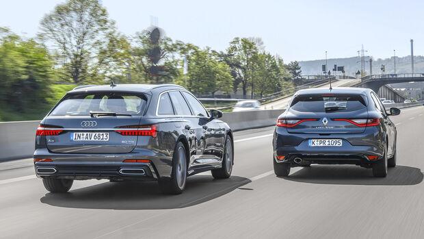 Totwinkelwarner: Audi A6 gegen Renault Mégane