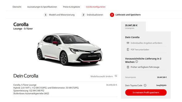 Toyota Corolla 2019 Konfigurator