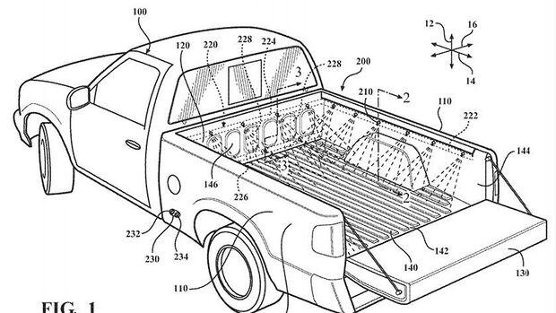 Toyota Patent, Pick-up Ladeflächenwaschsystem