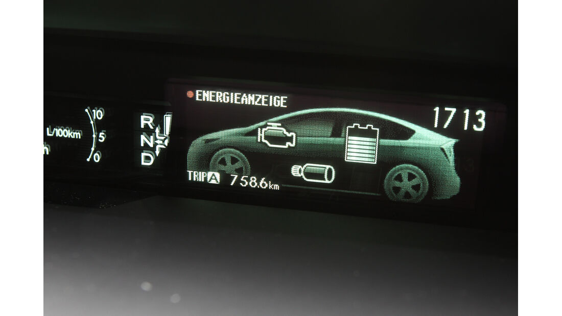 Toyota Prius Plug-In Hybrid, Kräfteverschleiß, Monitor
