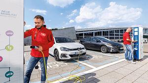 Toyota Prius Plug-in Hybrid, VW Golf GTE Front